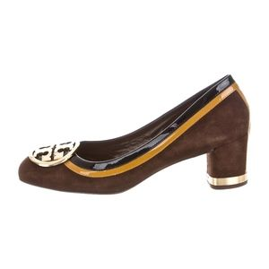 TORY BURCH~frannie pumps~SUEDE & LEATHER~Brown
